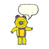 Cartoon deep sea diver  with speech bubble Royalty Free Stock Image