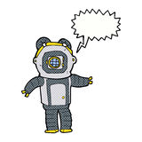 Cartoon deep sea diver  with speech bubble Royalty Free Stock Photography