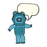 Cartoon deep sea diver  with speech bubble Royalty Free Stock Image