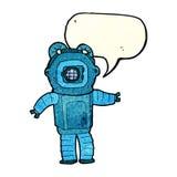 Cartoon deep sea diver  with speech bubble Stock Photos