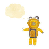 Cartoon deep sea diver  with thought bubble Royalty Free Stock Photo