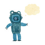 Cartoon deep sea diver  with thought bubble Stock Photo
