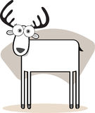 Cartoon Deer in Black and Whit. Illustration Cartoon Deer in Black and White Royalty Free Stock Photo