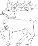 Cartoon deer contour on white background Stock Photo