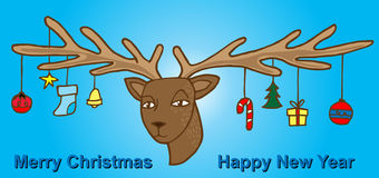 Cartoon deer with curly horns and gift. Merry christmas background card design Vector illustration Royalty Free Stock Photography