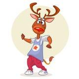 Cartoon deer dancing. Vector illustration of happy reindeer dancing disco Stock Photography