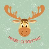Cartoon deer face with the inscription Merry Christmas on a light gray-green background of snow and snowflakes. Flat style illustr vector illustration
