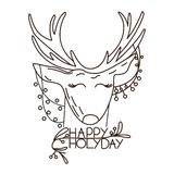 Cartoon deer with hanging from its ears garland stock illustration
