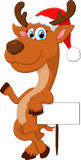 Cartoon deer hold blank sign Stock Photo