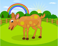 Cartoon deer and rural meadow with green grass on the mountain background. Natural landscape Royalty Free Stock Photo