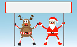 Cartoon deer and Santa-Claus Stock Photography