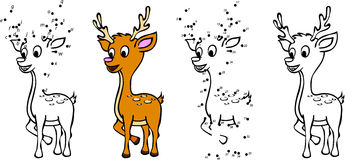 Cartoon deer. Vector illustration. Coloring and dot to dot game Stock Images