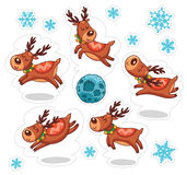 Cartoon deers, Christmas stickers Royalty Free Stock Photo