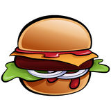 Cartoon delicious classic American cheese burger with vegetables Royalty Free Stock Photo