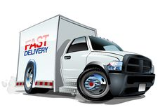Cartoon delivery cargo truck Stock Image