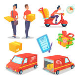Cartoon delivery concept objects set. Fast delivery van and scooter. Delivery man. Vector illustration Royalty Free Stock Photo