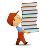 Cartoon delivery man carries the book Stock Photo
