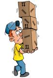 Cartoon delivery man carrying Stock Photos
