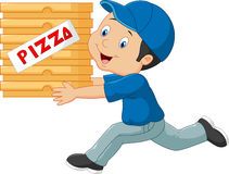 Cartoon a delivery man holding pizza Stock Image
