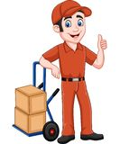 Cartoon delivery man leaning on packages and giving a thumb up. Illustration of Cartoon delivery man leaning on packages and giving a thumb up royalty free illustration
