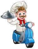 Cartoon Delivery Moped Scooter Chef Royalty Free Stock Photo