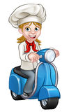 Cartoon Delivery Moped Scooter Chef. Cartoon woman chef or baker character riding a delivery moped motorbike scooter Royalty Free Stock Image