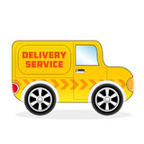 Cartoon Delivery Sertvice Van Royalty Free Stock Photos