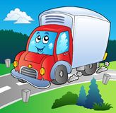 Cartoon delivery truck on road Royalty Free Stock Photos