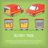 Cartoon delivery van vector illustration. Different perspectives of transportation truck. Royalty Free Stock Photography