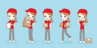 Cartoon delivery woman Royalty Free Stock Images