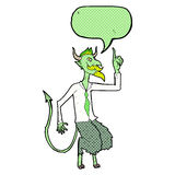 Cartoon demon boss in shirt and tie with speech bubble Stock Images