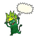 Cartoon demon with speech bubble Royalty Free Stock Photography