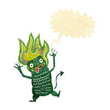 Cartoon demon with speech bubble Stock Images