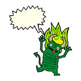 Cartoon demon with speech bubble Stock Photography
