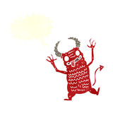 Cartoon demon with speech bubble Royalty Free Stock Images