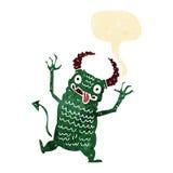 Cartoon demon with speech bubble Royalty Free Stock Photography