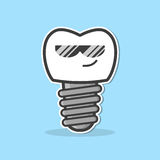 Cartoon dental implant. Stock Image