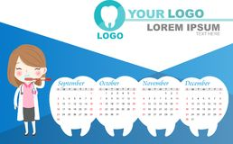 Cartoon dentist with calender Royalty Free Stock Images