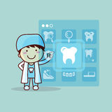 Cartoon dentist doctor touch icon Royalty Free Stock Photography
