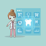 Cartoon dentist doctor touch icon Stock Photos