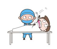 Cartoon Dentist Doing Tooth Extraction Vector Concept. Design royalty free illustration