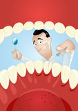 Cartoon Dentist Inside Mouth. View of a dentist from inside a mouth with teeth Royalty Free Stock Photos