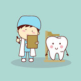 Cartoon dentist measuring tooth height Stock Photo