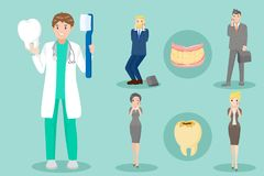 Cartoon dentist with patient Royalty Free Stock Photo
