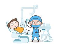 Cartoon Dentist with Patient - Tooth Extraction Process Vector Concept. Design Royalty Free Stock Photography