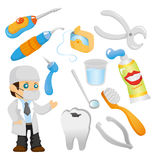 Cartoon dentist tool icon set. Drawing Stock Photography