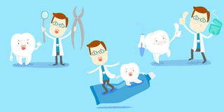 Cartoon dentist with tooth Royalty Free Stock Photos