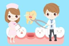 Cartoon dentist with tooth stock illustration