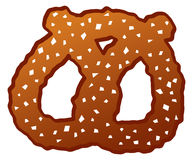 Cartoon Pretzel. A cartoon depiction of a salted sourdough pretzel Stock Images