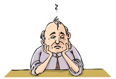 Cartoon of depressed office Royalty Free Stock Image